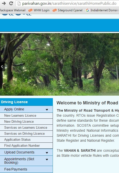 online slot booking for driving license