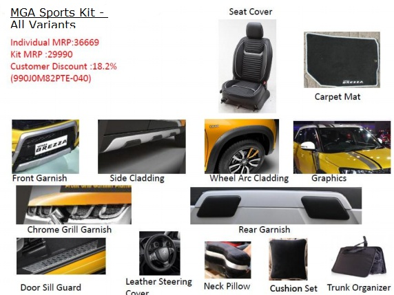 Vitara Brezza Accessories Pack - Sports Kit
