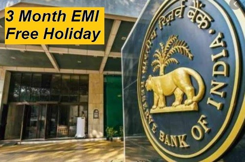 3 Month EMI Free Holiday Period by RBI due to Virus. Details