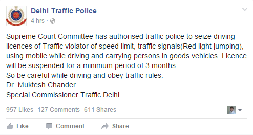 Traffic Fines in 2021. New Rules, Penalty Slabs in Delhi, NCR of Traffic Offence