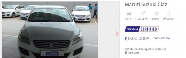 Look At This Clified Listing In December 2017 Of Maruti Ciaz Manufactured Petrol Car True Value