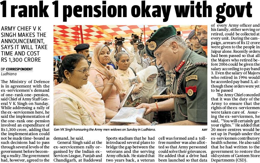 One Rank One Pension : News on OROP with Implementation
