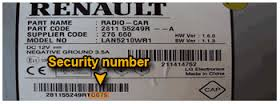 Renault 85PS authentication key to unlock the Music System